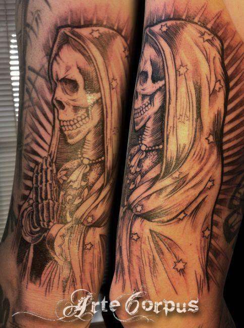 #tattoo #muerta #artecorpus #diadelosmuertos #calaca #calavera #santamuerta#pierrot#arte#corpus#marseille#tatoueur#