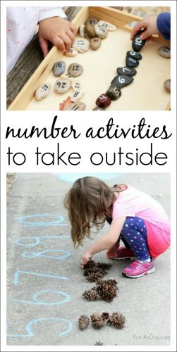 Fun and easy-to-set-up number activities for kids to take outside. Work on number identification, counting, and one-to-one correspondence.