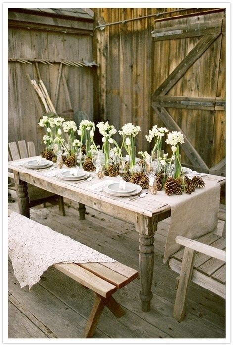 tablescapes with bulbs | Winter Table | Winter Centerpiece | Bulbs | Burlap