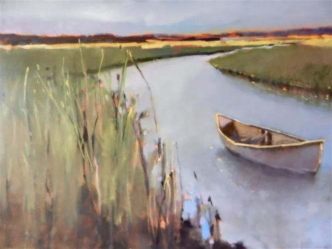 """""""Peaceful Canoe"""" by Mary Pratt #oil #painting"""