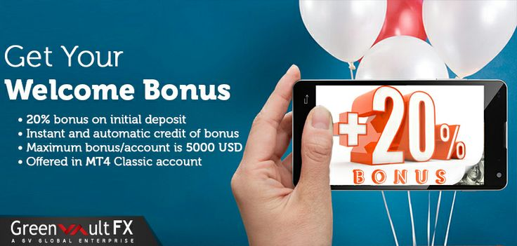 Greenvault #FX is delighted to present the new #WelcomeBonus!!  Sign up a live account now and acquire the 20% Welcome bonus.