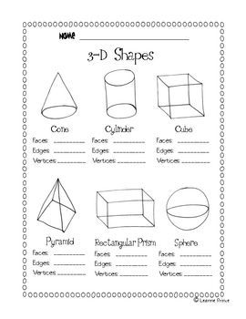 this file is a 1 page worksheet to review how many faces edges and vertices there are in these. Black Bedroom Furniture Sets. Home Design Ideas