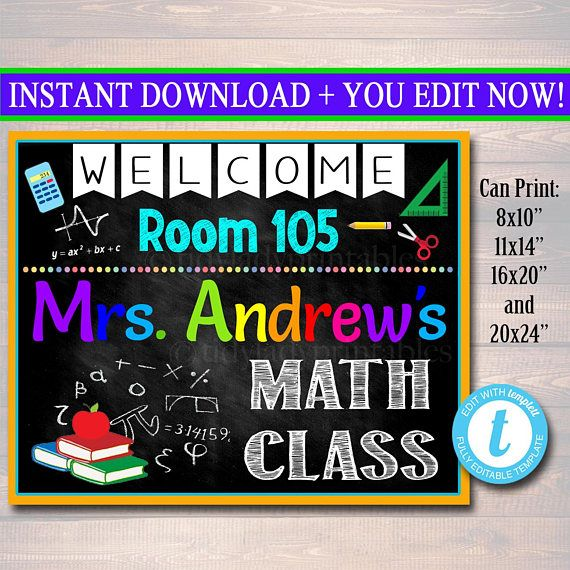 Printable Custom Teacher Door Sign for Math Classroom Decor! A cute way to add personality and bright, fun personalized decor to your Math classroom! An awesome way to welcome students to the new school year!  This personalized custom math teacher door hanger sign makes a GREAT