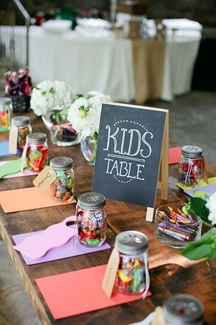 A cute idea for setting up a kids table at a grown-up party or wedding #wedding #inspiration