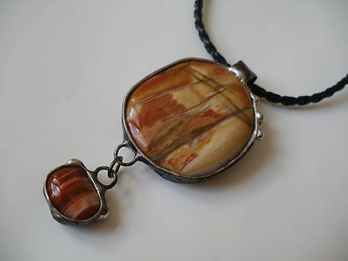 FijA / Západ slnka - skamenené drevo, achát