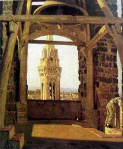 "Abbati, Giuseppe (1836-1868) - 1865 The Tower of Palazzo del Podesta   ""Macchiaioli"" Painters    #TuscanyAgriturismoGiratola"