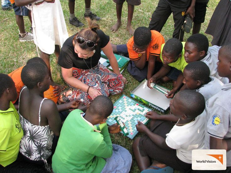 #WorldVision staff member Lisa playing scrabble with members from a Child Protection Committee in #Uganda. You can travel overseas with #WorldVision to experience our work in the field - you will come home with a new understanding of poverty, motivated by how your fundraising efforts are impacting lives and empowered to make a difference!