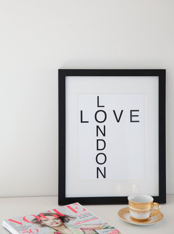 Love London Print 8 5x11 Wall Decor Art Travel London Home Decor