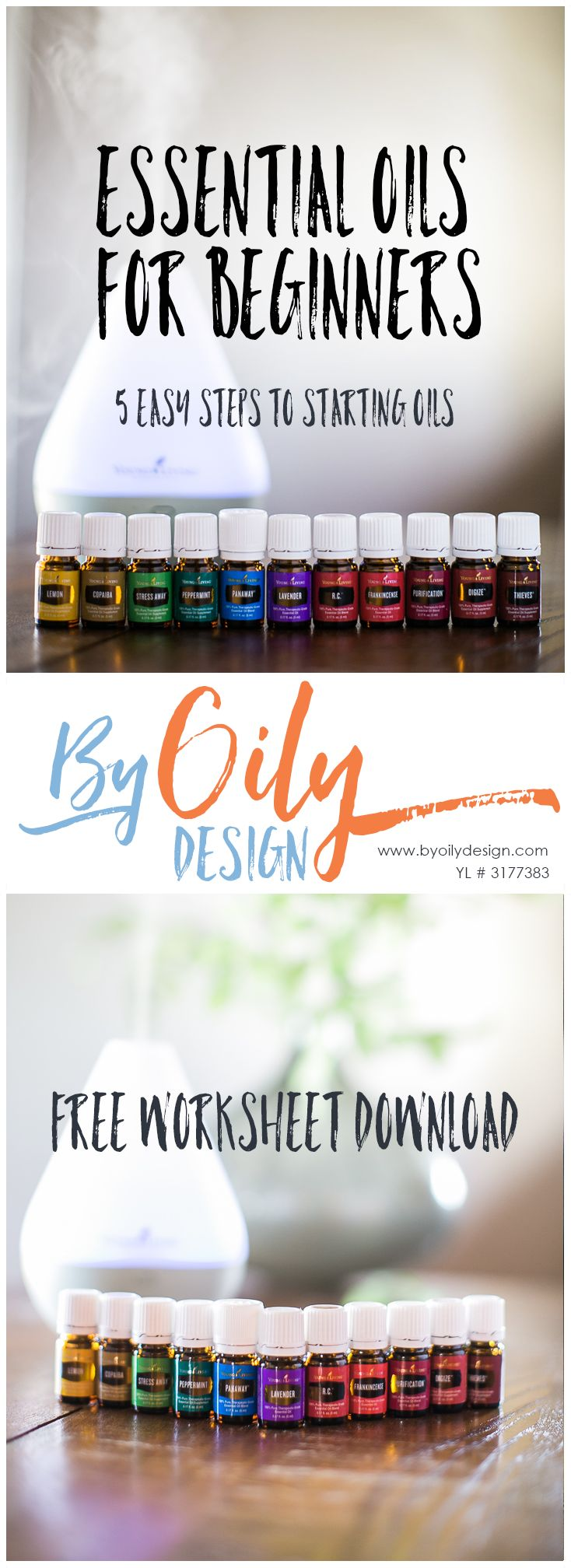 Essential Oils for beginners worksheet for helping you get started with Essential Oils. 5 Step process to getting started with Essential Oils. Essential Oils guide for beginners. www.byoilydesign.com YL#3177383
