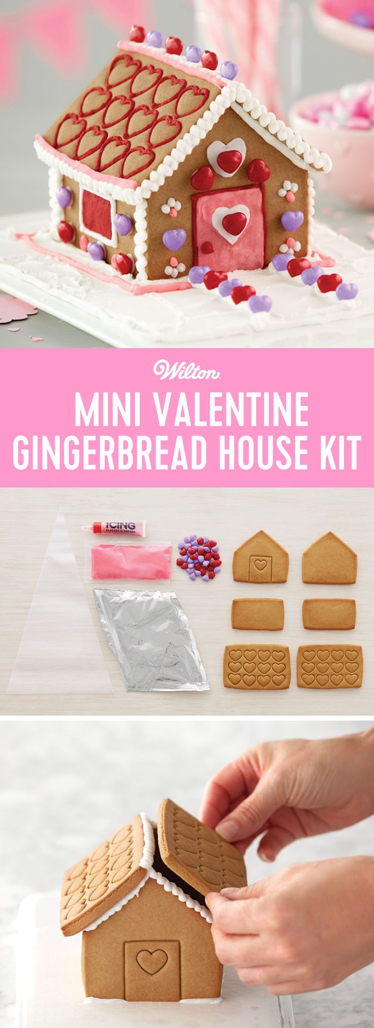 Plan a Valentine's Day Gingerbread House decorating party! Give a mini house to each guest and the fun begins. The completed houses make the sweetest Valentine's Day gifts that show how much everyone loves decorating with friends. #wiltoncakes #valentinesday #valentine #valentines #gingerbreadhouse #valentinegift #decorating #gingerbread #ideas #gingerbreadhouseideas
