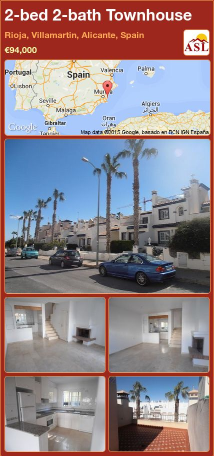 2-bed 2-bath Townhouse in Rioja, Villamartin, Alicante, Spain ►€94,000 #PropertyForSaleInSpain