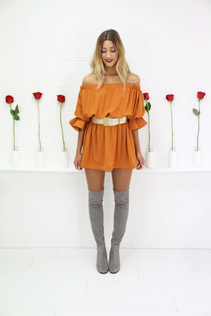 Description - Off The Shoulder Dress - Frill Detail - Elasticised Shoulder & Waist Band - Stiff Hems on Sleeves & Bottom Hem  Fabrication 100% Polyester  Sizing Model is a Size 08 (S) & is wearing a Size (S) Model is 173cm Tall   Please note: doesn't include belt