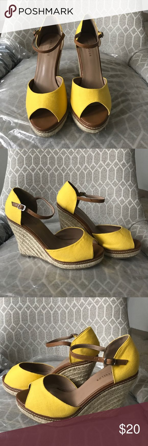 Beautiful Ann Taylor yellow wedge sandals Brand new in box! Yellow Anne Taylor size 8 Canvas wedge espadrille wedge. Never worn. Ann Taylor Shoes Sandals