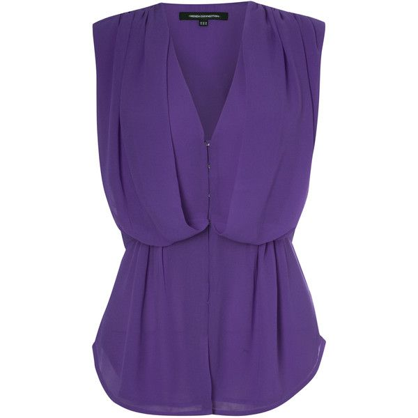 French Connection Suzy Winter S/Less V-Neck Top ($98) ❤ liked on Polyvore