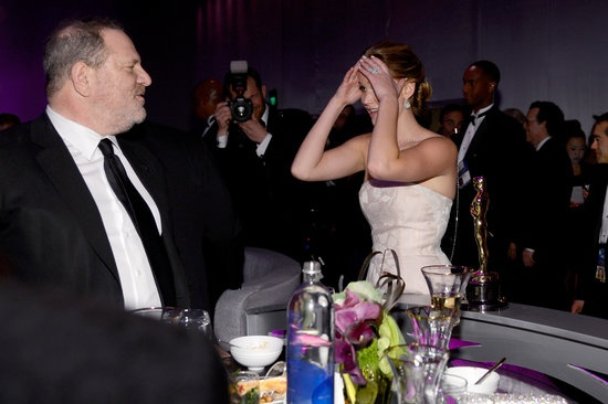Oscar Winners Take Their New Statues to the Governors Ball: Amy Adams, Joseph Gordon-Levitt, and Charlize Theron posed together at the Governors Ball.: Ben Affleck and Jennifer Garner arrived at the Governors Ball together after the Oscars.  : Amy Adams and Darren Le Gallo attended the Governors Ball.  : Daniel Day-Lewis and Ang Lee hugged at the Governors Ball.  : Jennifer Lawrence chatted with Harvey Weinstein at the Governors Ball.