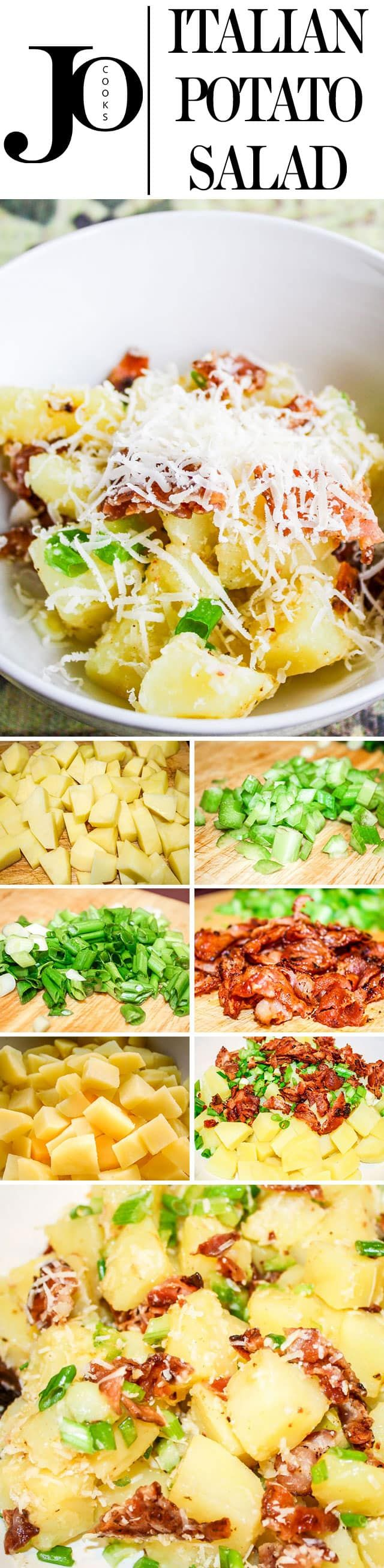 This recipe for Italian Potato Salad, mayo free, a starter or side recipe, is simple, delicious and an all time favorite. Perfect for a potluck or a picnic, it's the salad you'll always be craving. #potatosalad #italian via @jocooks