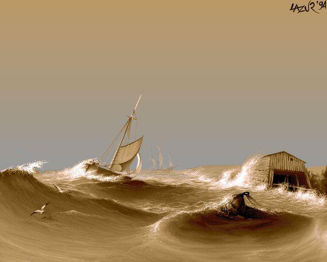 sea storm - pixel art from old Amiga 1200 16 color - Demoscene