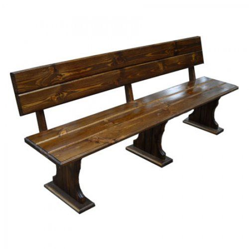 Скамейка МФДМ Комфорт (мореный) Скамья деревянная со спинкой