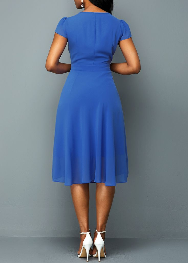 Short Sleeve Round Neck A Line Chiffon Dress | Rotita.com ...
