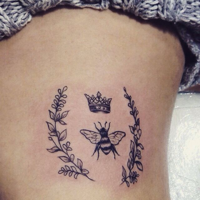 New simple side tattoo  Queen Bee for Beyonce flowers