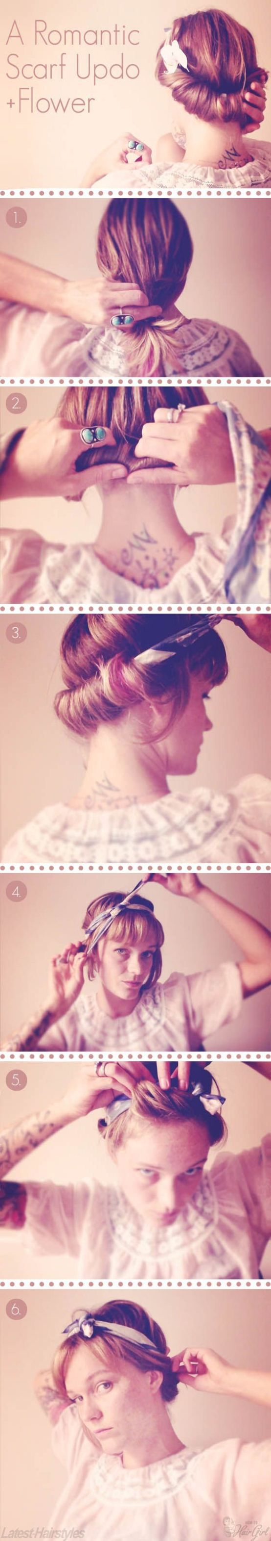 Beautiful updo using a scar as both the hair accessory and the hair…