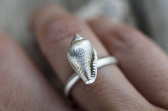 Seashell Silver Ring, Ocean Beach, Sterling Silver Mermaid Stacking Ring, Shell Jewelry, Seashell Ring, Silver Shell Ring, Seashell Jewelry