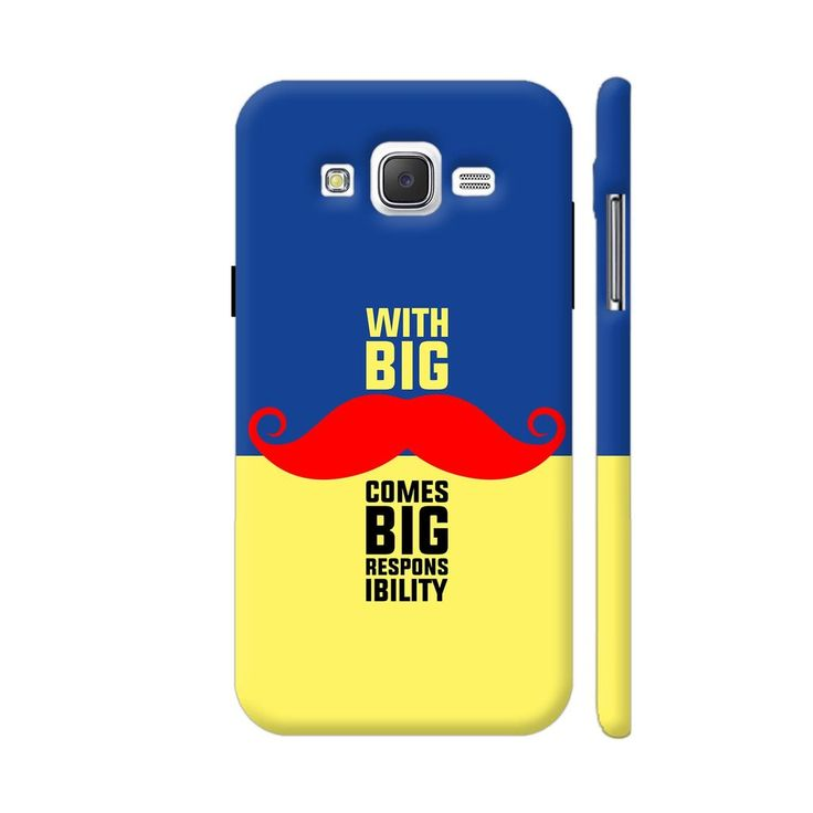 With Big Moustache Comes Big Responsibility In Blue Yellow Samsung Galaxy J2 (Old) Cover | Artist: Designer Chennai
