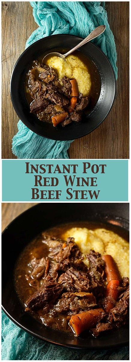 Instant Pot Red Wine Beef Stew - so delicious with carrots, red wine and figs!