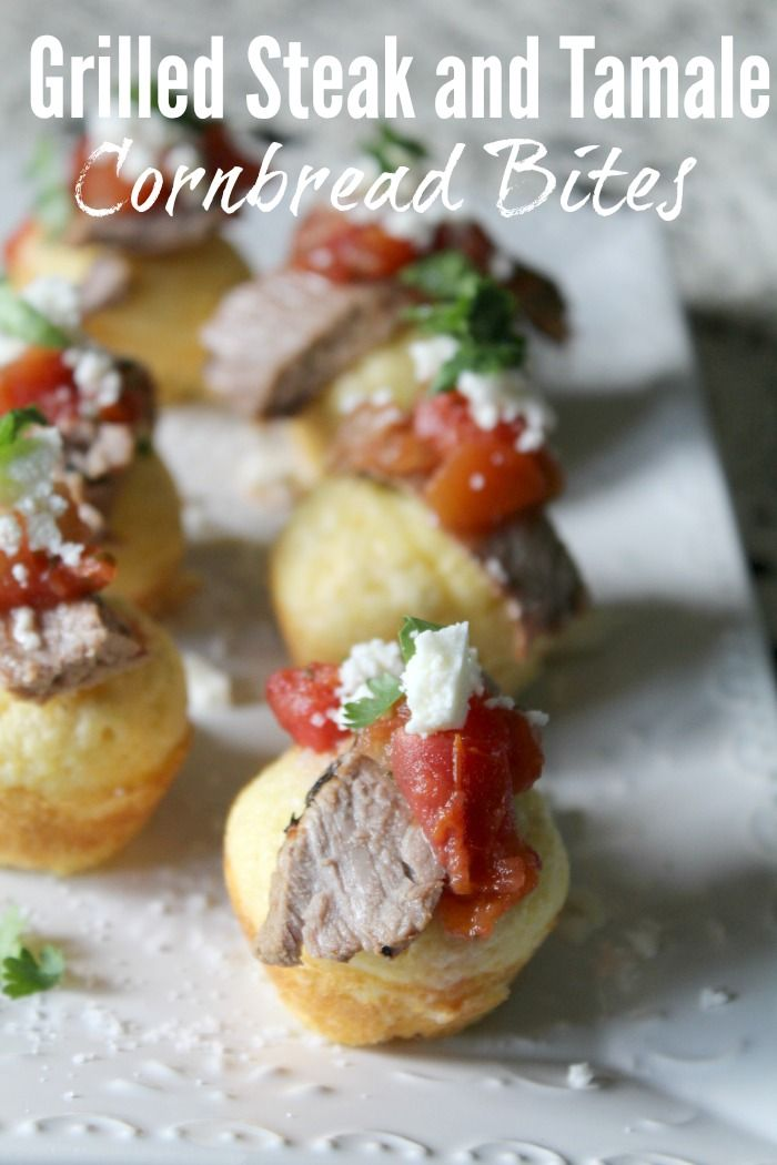 These grilled steak and tamale cornbread bites made using @HerdezBrand ...