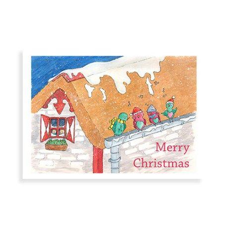 Kerstkaart met illustratie van Illu-Straver. Besneeuwd dak met kerstvogeltjes.