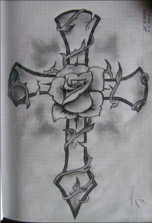 Rose with cross | Drawings | Pinterest | Art, Crosses and Roses
