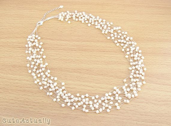 White freshwater pearl necklace on silk thread by CuteActually $38