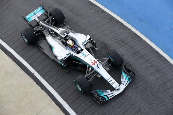 Lewis Hamilton of Great Britain and Mercedes GP drives during the launch of the Mercedes formula one team's 2017 car, the W08, at Silverstone Circuit on February 23, 2017 in Northampton, England.