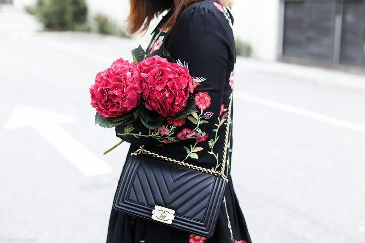 Zara Embroidery Dress & Red Hydrangeas  Chanel Boy   #style #bloggerstyle #chanel #chanelboy kimleow.com