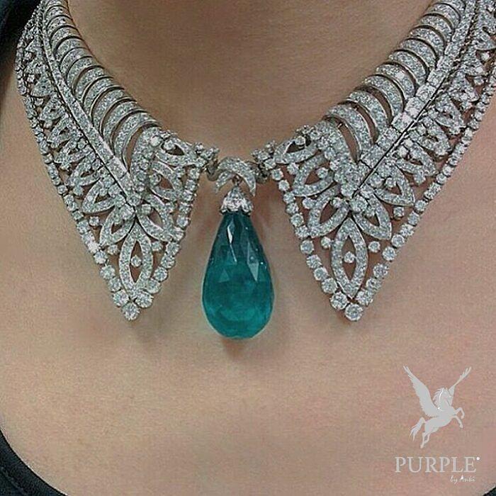 Boucheron Diamond Necklace suspending a briolette drop-shaped emerald weighing 65.33 carats