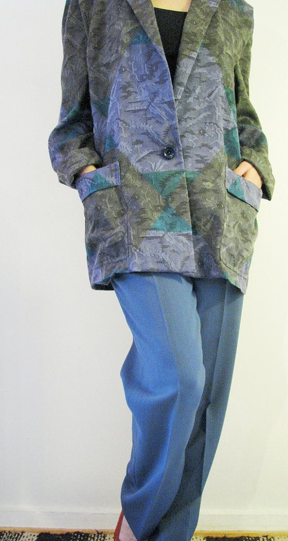 80s Tailored Jacket Suit in Dove Blue and Green, M, W30 // Blazer Pants // Two-Piece Suit