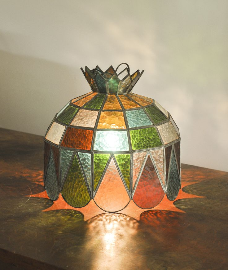 Vintage 1970s Stained Glass Hanging Swag Light Lamp New Wiring. by drowsySwords on Etsy