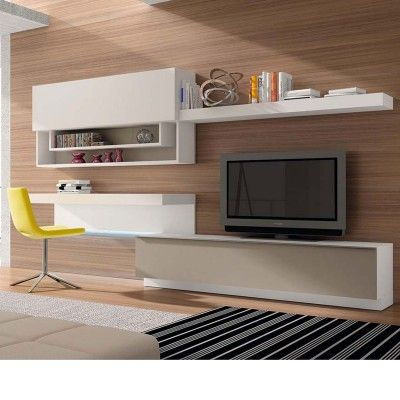 EXCLU Atylia.com Meuble TV Design Copen à LED - Bois Blanc Beige - Made in Europe !