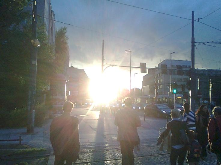 Sunset on Kazimierza Wielkiego street, Wroclaw