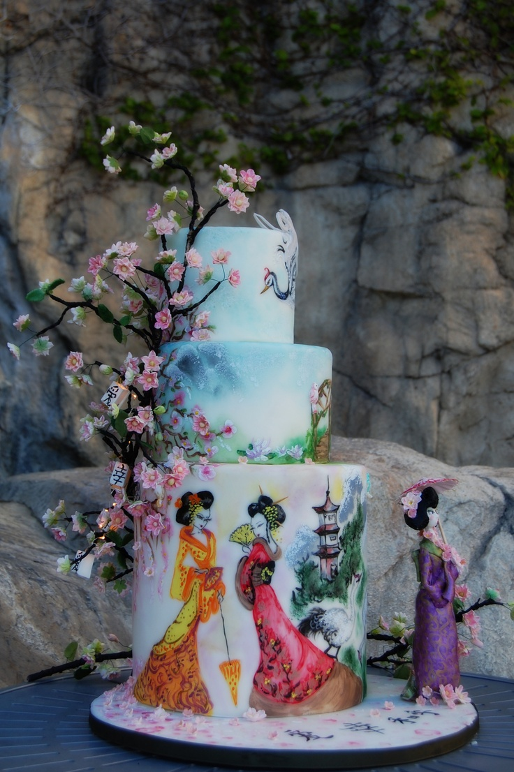 Geisha Themed Wedding Cake by www.CenterRingCakes.com
