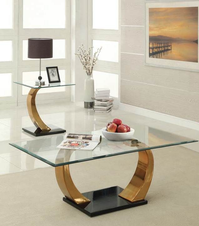 Camille Rose Gold Glass Top Coffee/End Table Set 80280-Set