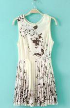 Beige Sleeveless Black Floral Pleated Dress $40.33