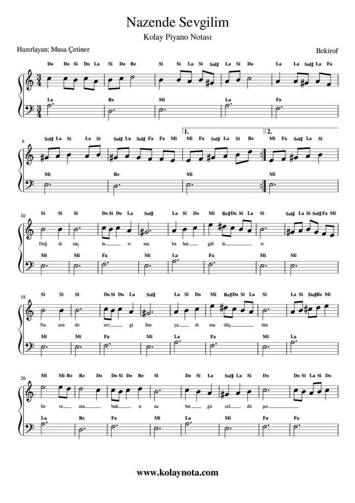 Nazende Sevgilim Kolay Piyano Notasi Kolaynota Com Nota Arsivi Piyano Notalara Dokulmus Muzik Muzik Calisma Kagitlari