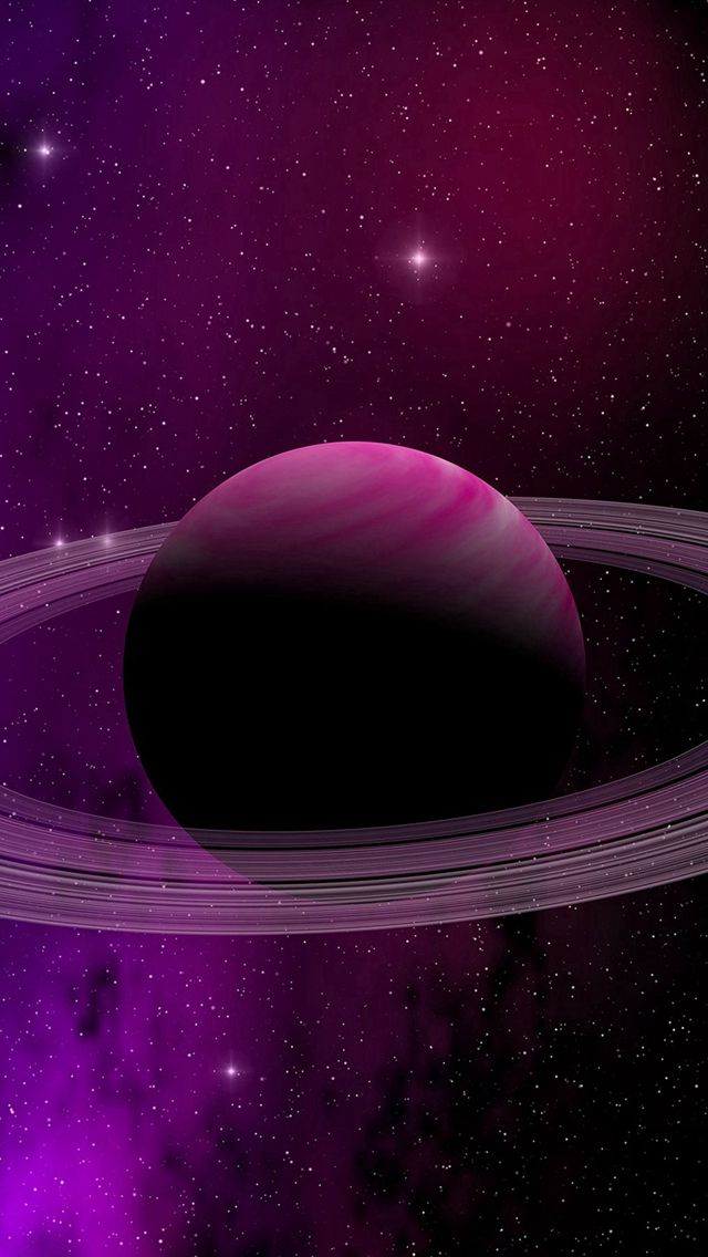 Iphone Wallpapers – Space Planet Saturn Star Art Illustration Purple #iPhone #5s #wallpaper