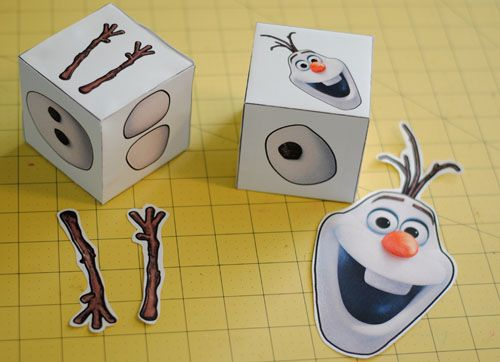 Olaf Party Game.  Roll the dice and build a snowman.  Elsa would love this.  :)  Fun for a FROZEN party.