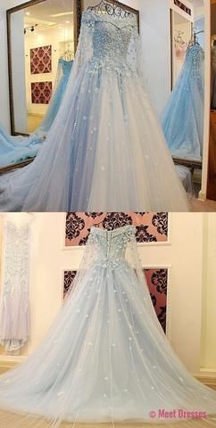 Prom Dresses,Light Sky Blue Tulle Prom Dress,Modest Prom Gown,Ball Gown Prom Gown,Princess Evening Dress,Ball Gown Evening Gowns PD20186324