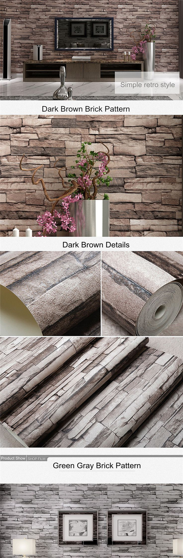 EU Direct | 10M 3D Wallpaper Roll PVC Brick Grain Waterproof Wallpaper Natural Wood Pulp Dul