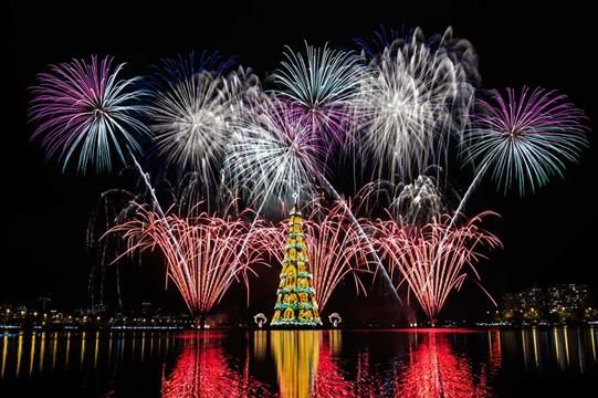 Fireworks burst around an 85-metre-high floating Christmas tree at Rodrigo de Freitas lagoon in Rio de Janeiro, Brazil, announcing the start of the festive season. It is lit up by 3.1 million lights every night. (Yasuyoshi Chiba/AFP/Getty) Love to family in Rio. :-)