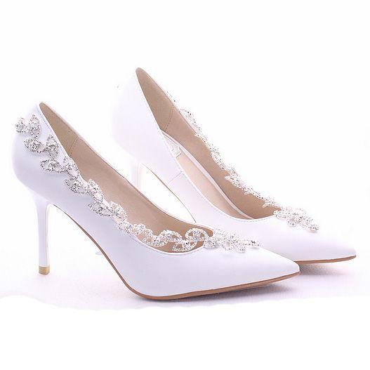 Chaussure De Mariée Escarpin Blanc Talon Haut Aiguille En