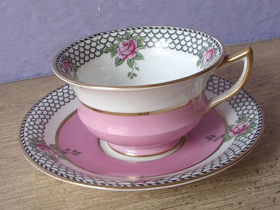 Antigua taza y plato taza de té de Aynsley china por ShoponSherman